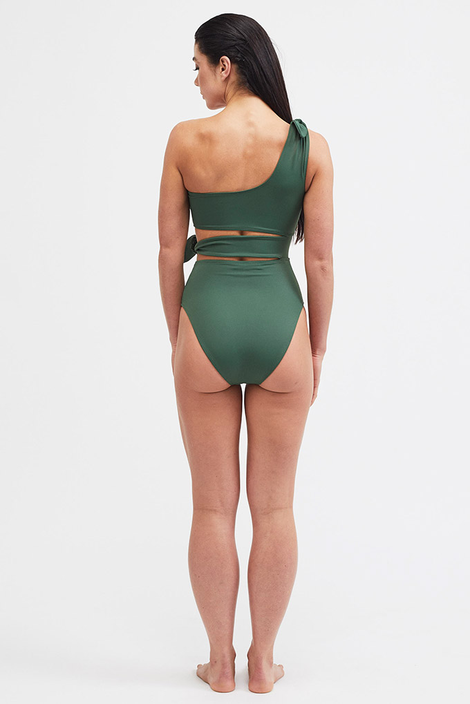 one shoulder swimsuit back