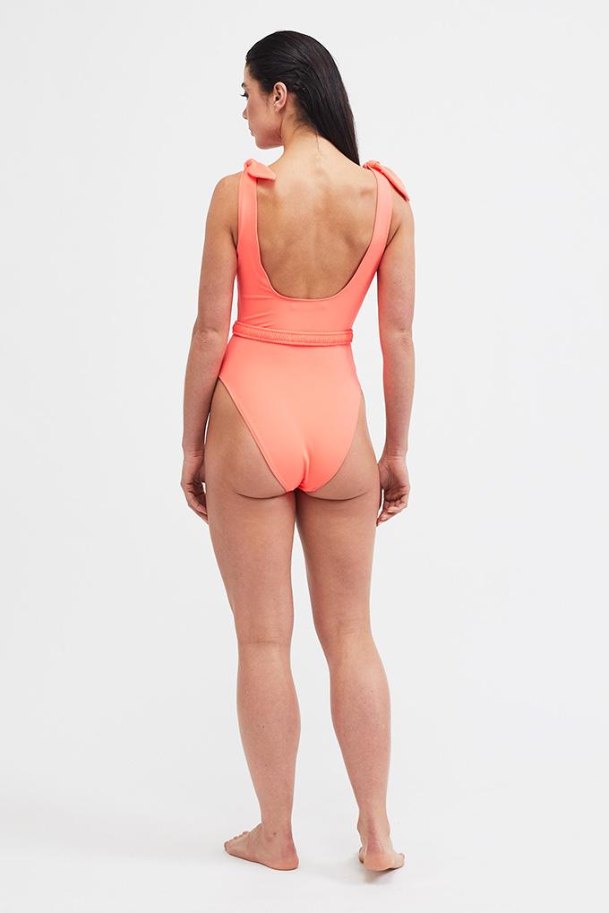 orange swimsuit back
