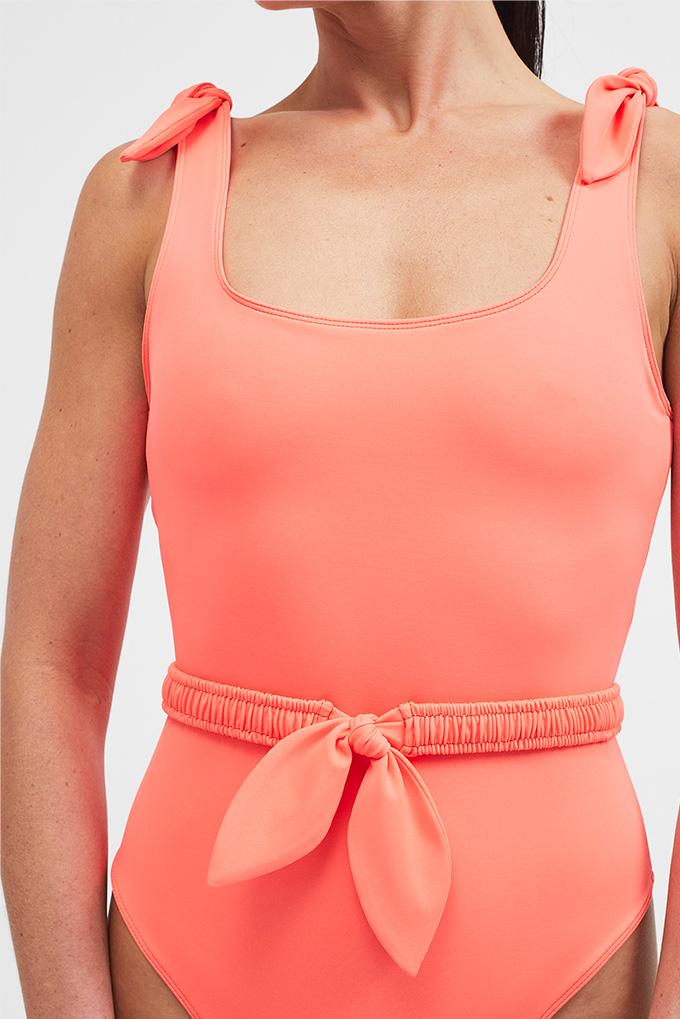 orange swimsuit close up