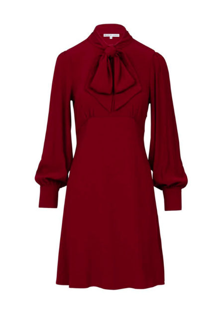 Pussy bow midi dress in burgundy