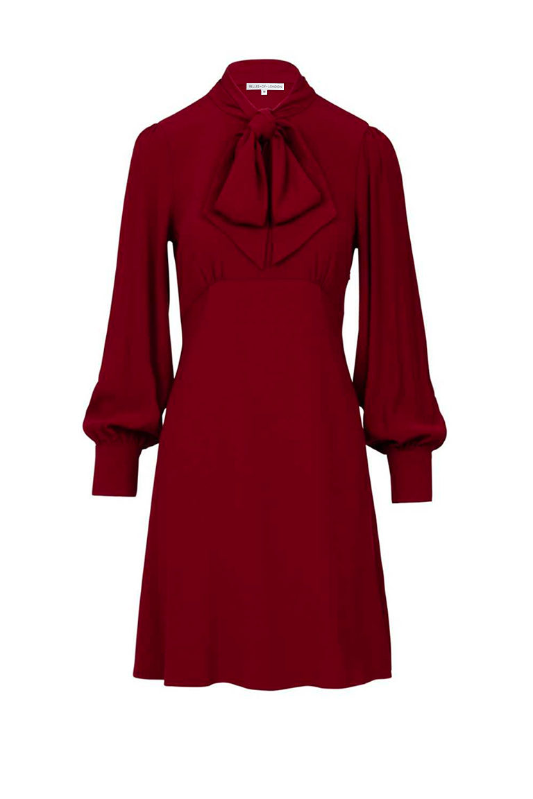 Pussy bow midi dress in burgundy