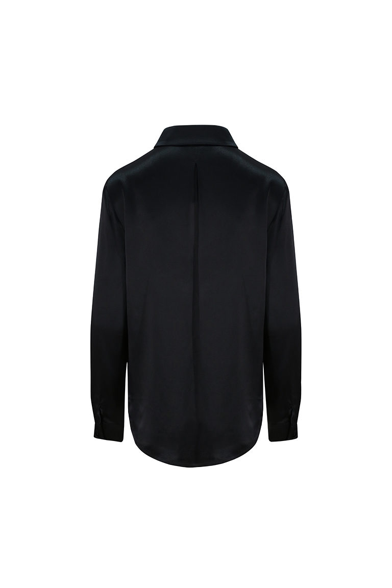 Black satin back crepe shirt