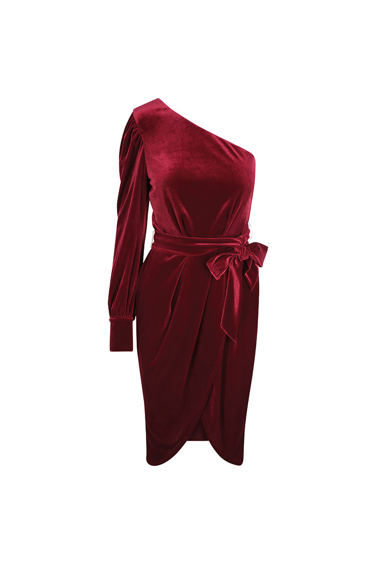 Red velvet one shoulder dress