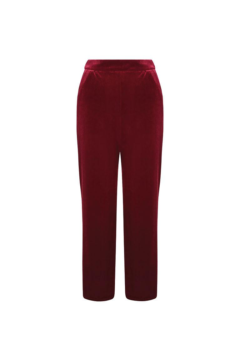 Red velvet wide leg trousers