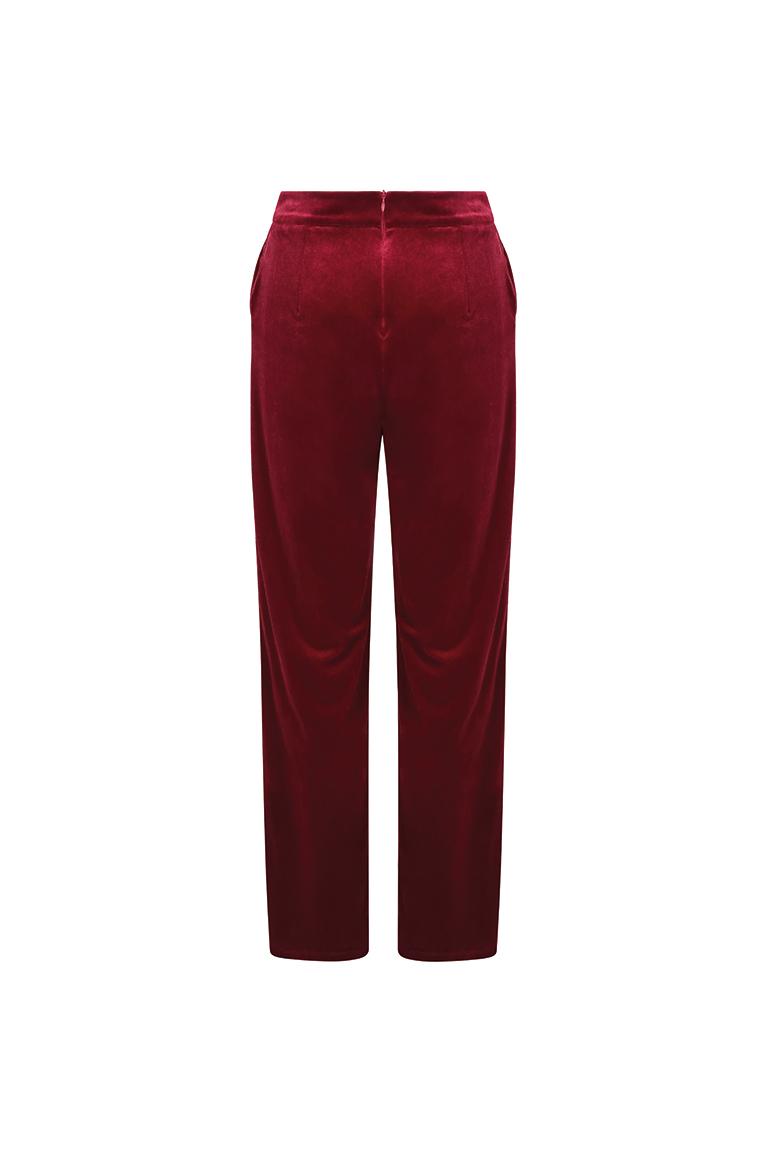Red velvet trousers