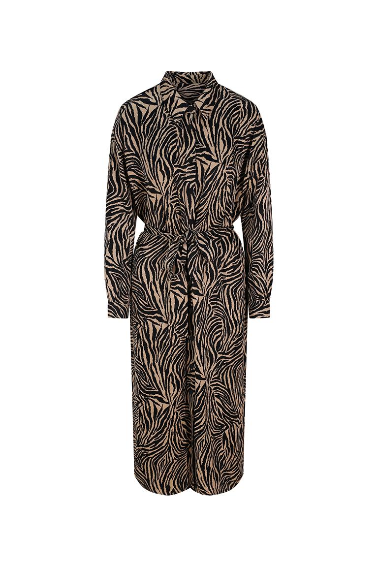 Zebra print midi shirt dress