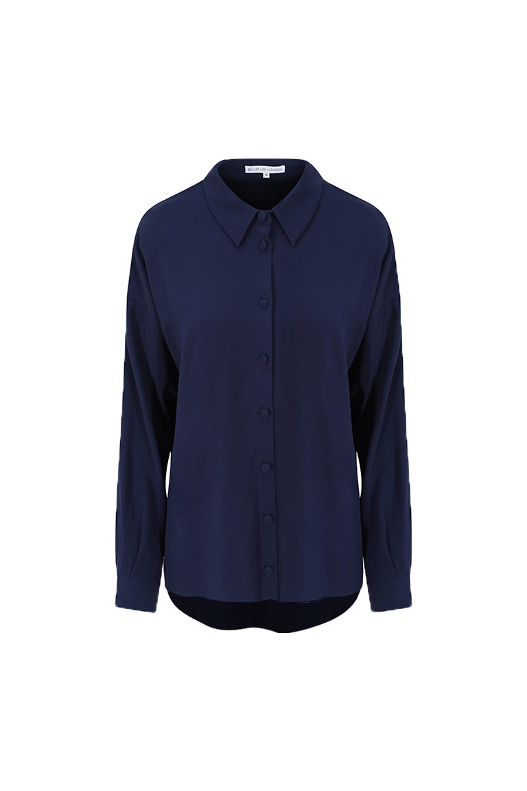 Navy satin shirt