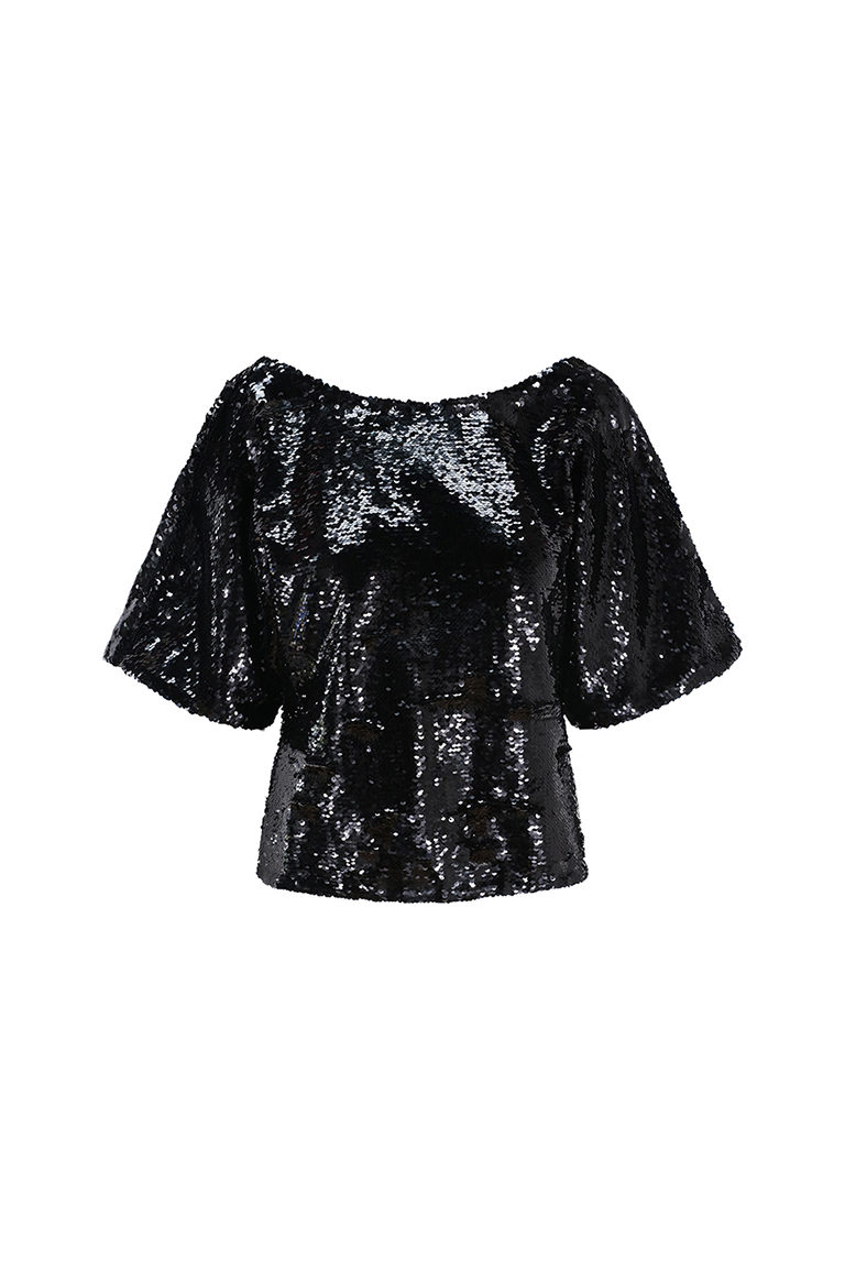Black sequin cowl top