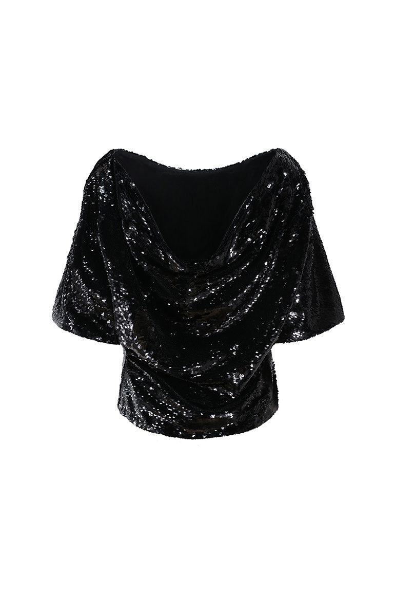 Black sequin cowl top