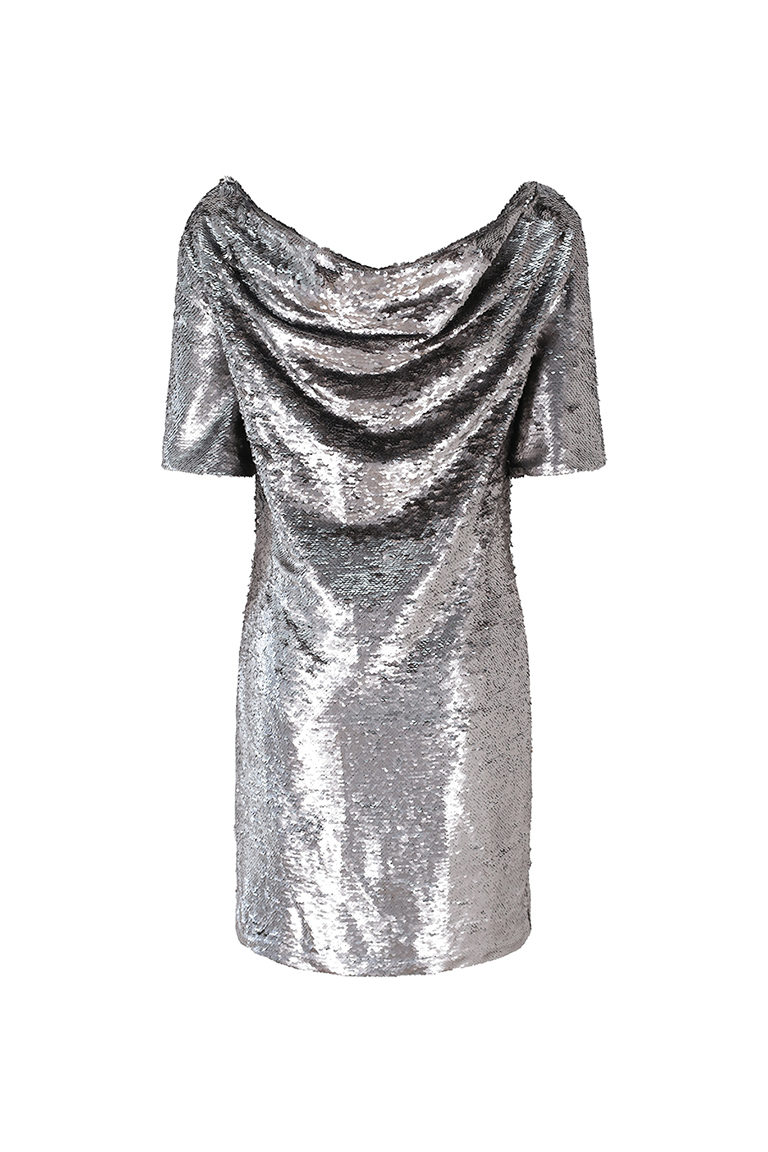 Silver Crowl Back Sequin Dress
