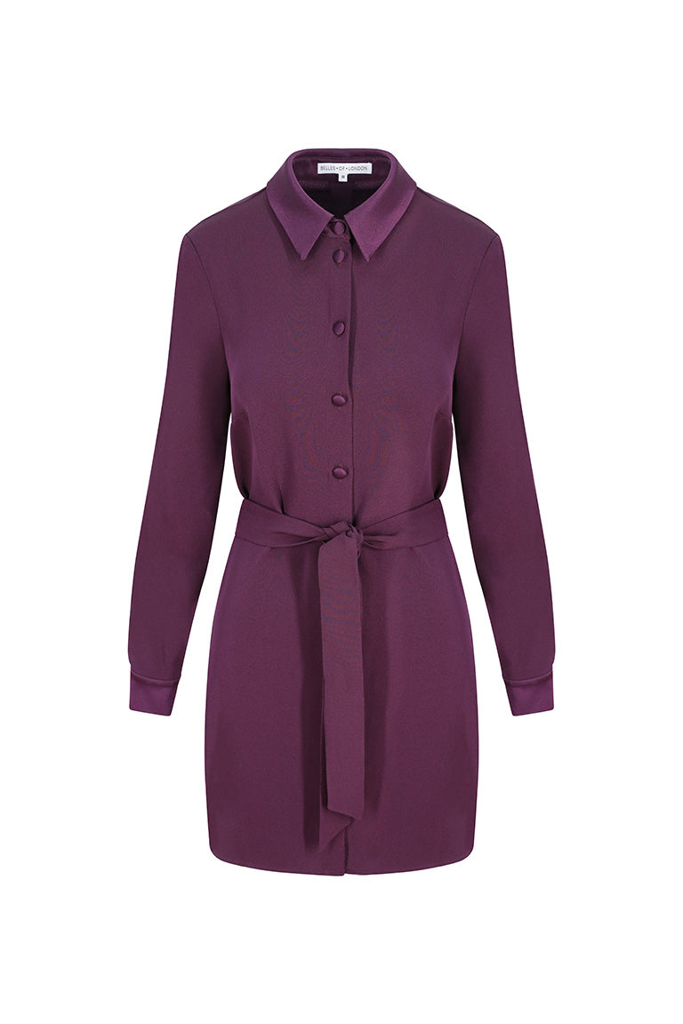 Purple Tie Up Shirt Dress