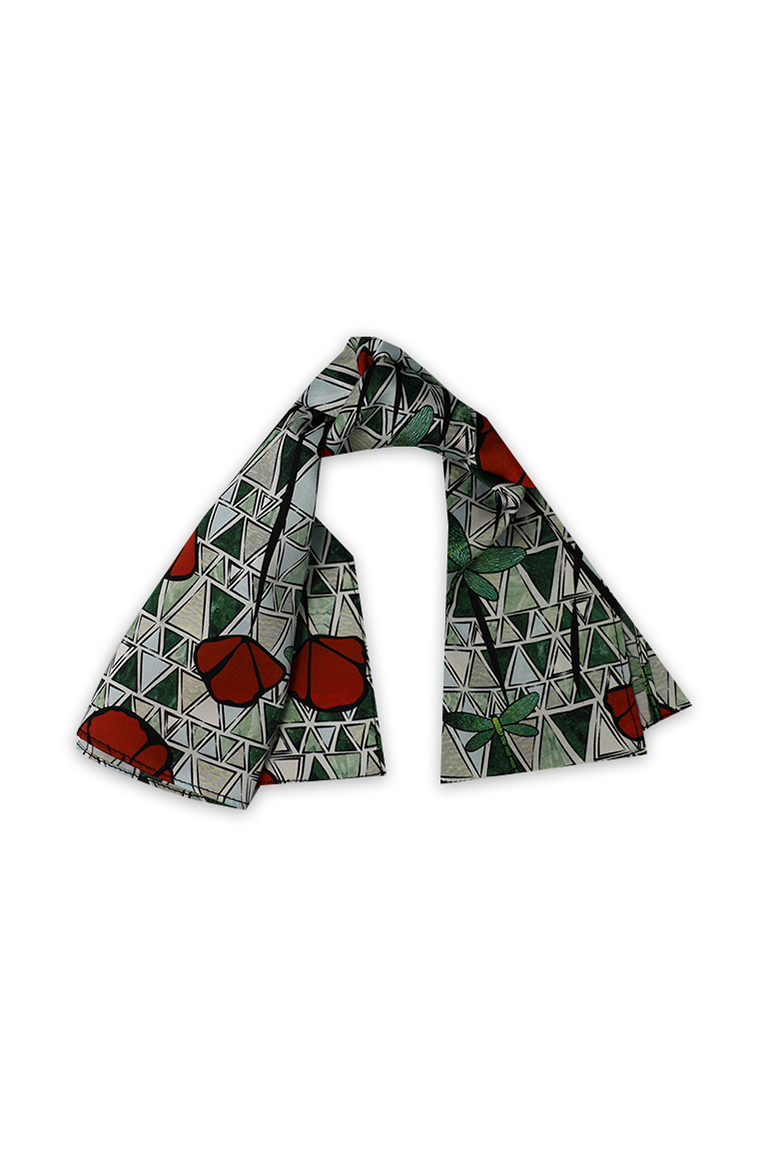 Red Poppy print Silk Scarf