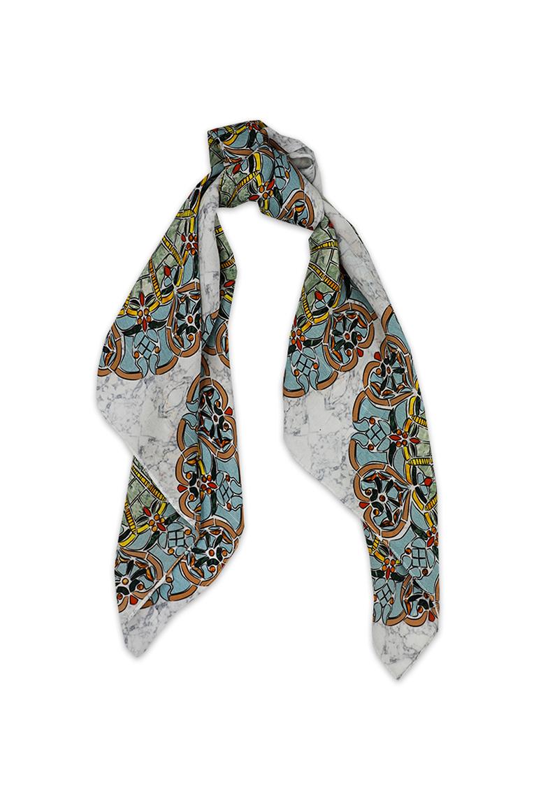 Vintage Marble Print Silk Scarf