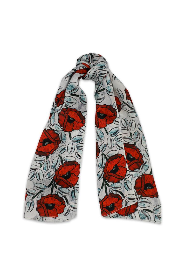 Oversized red poppy silk scarf