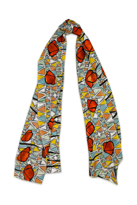 Orange Poppy Long Silk Scarf