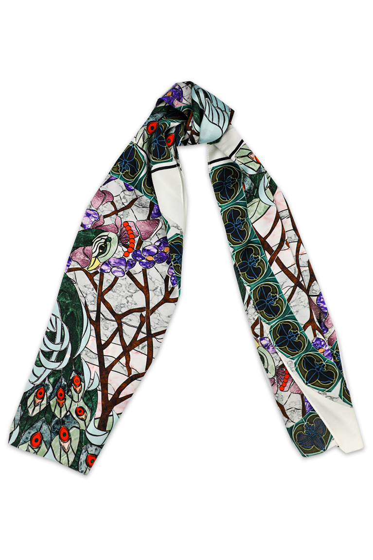 Peacock long silk scarf
